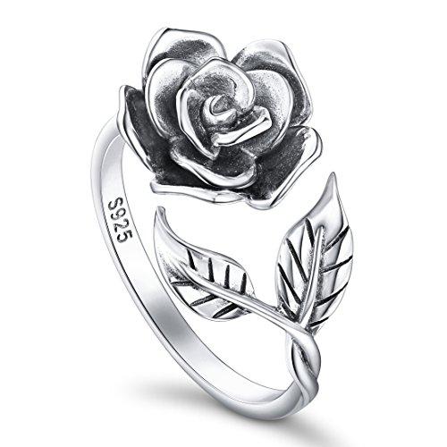 DAOCHONG Ringe für Damen S925 Sterling Silber Rose Blume Verstellbaren Ringen Romantisches Geschenk für...