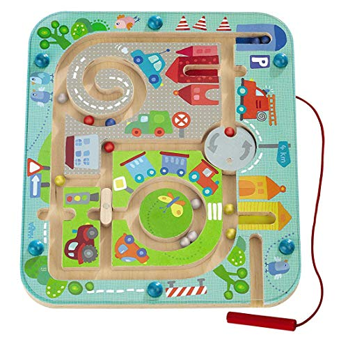 Magnetspiel Stadtlabyrinth, Pädagogisches Holzspielzeug, fördert Logik und Feinmotorik