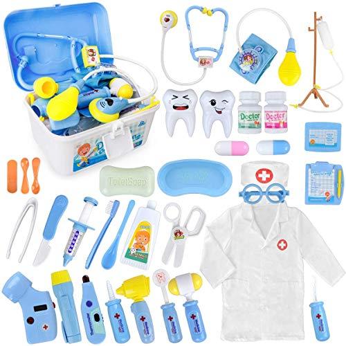 MerryXGift Arztkoffer Kinder 35 Teile Rollenspiele Arzt Zahnarzt Spielzeug Doktorkoffer Geschenke mit...