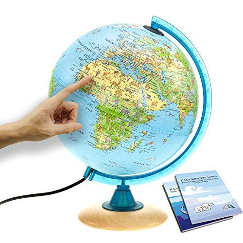 Interkart Kinder-Globus - 25cm Globus mit Holzfuß, Deutsches Kartenbild mit vielen Abbildungen für...