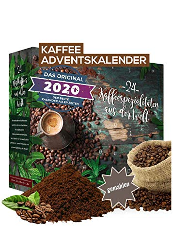 Adventskalender 2020 Kaffee gemahlene Bohnen I Kaffee Adventskalender mit 24 erlesenen Kaffee Sorten aus...