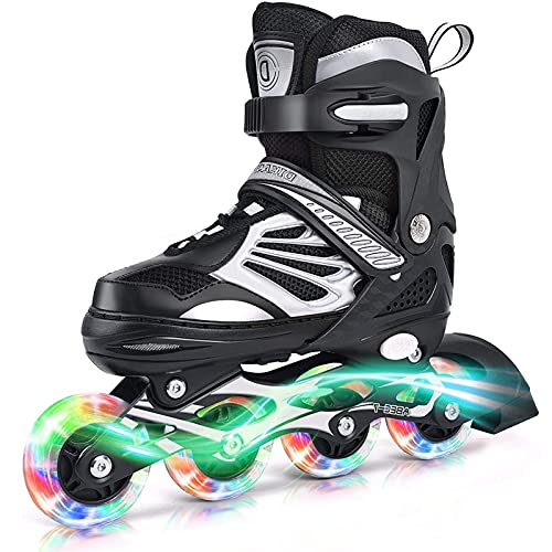 XINAYUEJP Verstellbar Inline Skates Rollschuhe mit LED Leuchtendem, Herren Damen Inliner Inlineskates, PU...