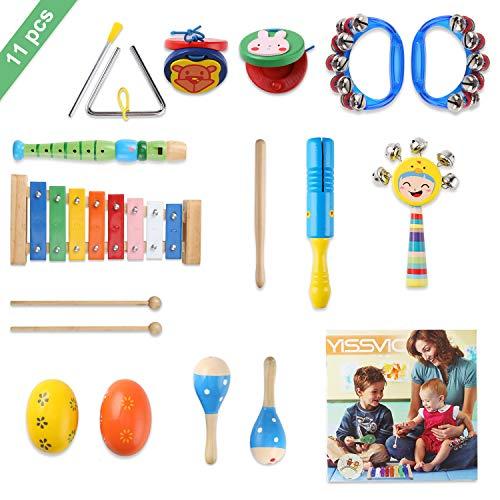 YISSVIC 11PCS Musikinstrumente Musical Instruments Set Spielzeug von Holz Percussion Schlagzeug...