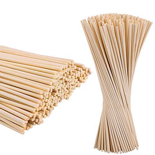 BOELLRUNO 400STK 20cm 3mm Bambus Rund Holzstäbchen Dübelstangen Holzstäbchen zum Basteln Diffusor...