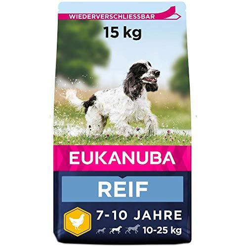 Eukanuba Hundefutter mit frischem Huhn für mittelgroße Rassen, Premium Trockenfutter für reife Hunde,...