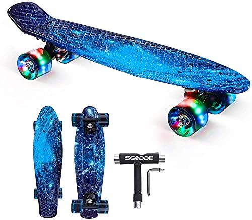 SGODDE Skateboard Komplette 56cm/22 Mini Cruiser Board Retro Komplettboard für Anfänger Kinder...