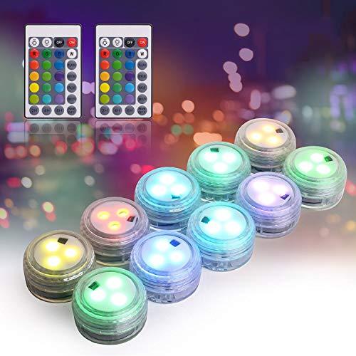 Herefun Unterwasser LED Licht, 10 Stück Mini Unterwasser LED mit 2 Fernbedienung, Wasserdichte LED Kerze...