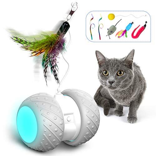 HOFIT Interaktives Elektrischer Katzenspielzeug Automatischer Drehender Katzenball mit...