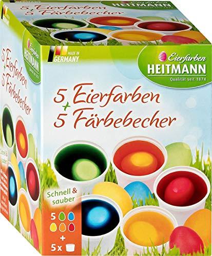 Heitmann Eierfarben 5 Eierfarben + 5 Färbebecher - 5 flüssige Kaltfarben mit Stickerbogen - azofrei -...