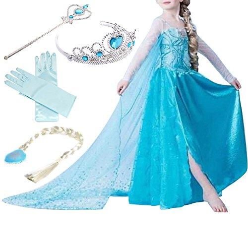 Timesun® Mädchen Prinzessin Schneeflocke Süßer Ausschnitt Kleid Kostüme mit Diadem, Handschuhen,...