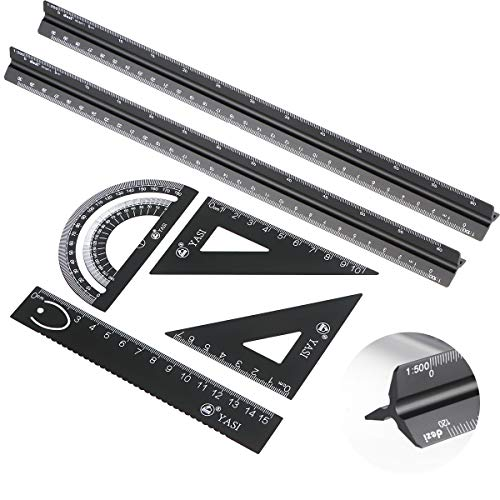Seamuing Dreikantmaßstab Maßstab Lineal, 6 Stück Aluminium Lineal Architekt Metall Geodreieck Set für...