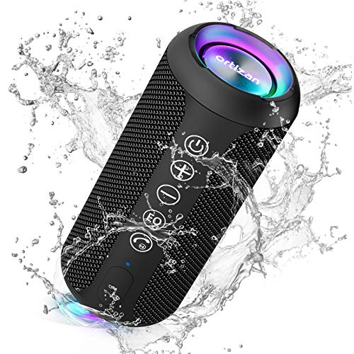 Ortizan Bluetooth Lautsprecher mit Buntem LED-Licht, Tragbarer Mini Bluetooth Box mit Freisprechfunktion,...