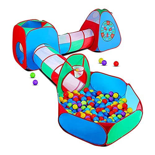 STLOVe Spielzelt Kinderzelt Angepasst Babyzelt mit krabbeltunnel(Ohne Bälle) 5-Teiliges Bällebad...