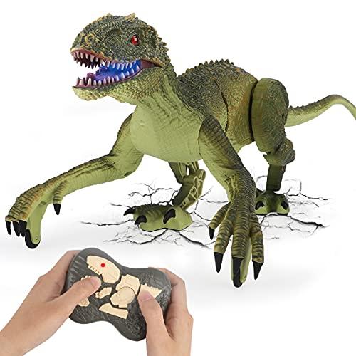 GILOBABY Ferngesteuerte Dinosaurier Spielzeug,Velociraptor mit Gehen & simuliertem Brüllen &...
