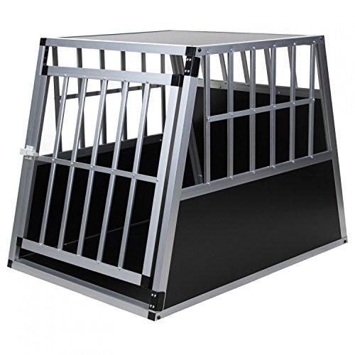 Hundetransportbox Alu Größe xxl von Jalano schwarz / silber - Gitterbox Aluminium Auto Transportbox...