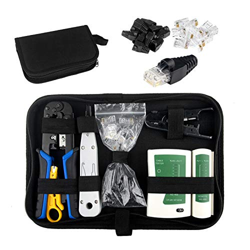 HIRALIY Netzwerk Werkzeug Set, 16tlg Auflegewerkzeug, Professionell Reparaturwerkzeuge Set, LAN Kabel...