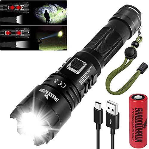 Shadowhawk LED Taschenlampe, Extrem Hell 10000 Lumen USB Aufladbar Taschenlampen, CREE XHP70.2 LED...