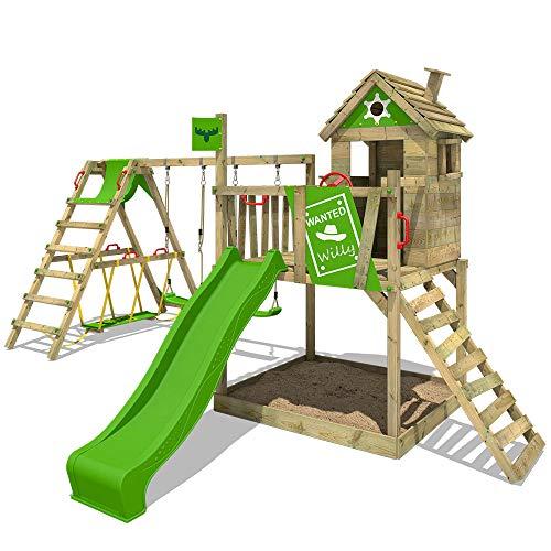 FATMOOSE Stelzenhaus RockyRanch Roll XXL Kletterturm mit schwingendem Surfbrett Spielturm Spielhaus auf...