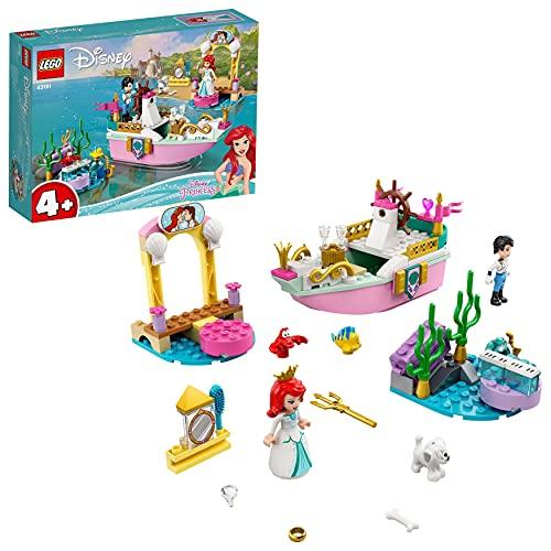 LEGO 43191 Disney Princess Arielles Festtagsboot, Boot mit Mini-Puppe von Arielle die Meerjungfrau,...