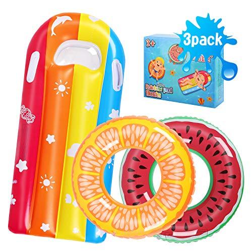 Auney Kinder Schwimmring, 3 Stück Schwimmreifen Wasserring Aufblasbare Wassermelonen-Schwimmring...