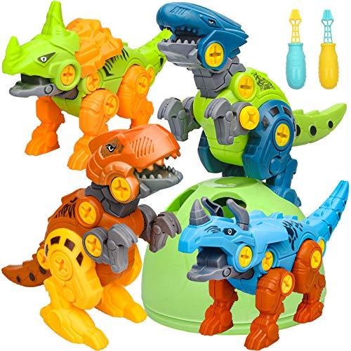 Sanlebi Dinosaurier Montage Spielzeug, 4 Stück Dinosaurier Spielzeug ab 3 4 5 6 Jahre mit Schrauben...