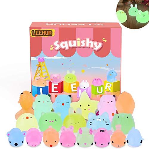 LEEHUR Squishy Kawaii Set, 20 Stück Mini Mochi Squishy,Glänzendes Squishy Mochi ,Fidget Toy Mochi für...