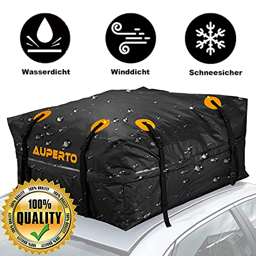 Auto Dachbox, 15 Kubikfuß Faltbare Gepäckbox 425L Dachgepäckträger Wasserdicht Soft Dachtasche...