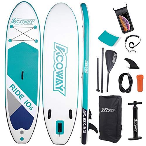 ACOWAY Aufblasbares Stand Up Paddle Board, 320 x 81.5/84 x 15 cm/Mit 180kg, Rutschfestes SUP Board Set...