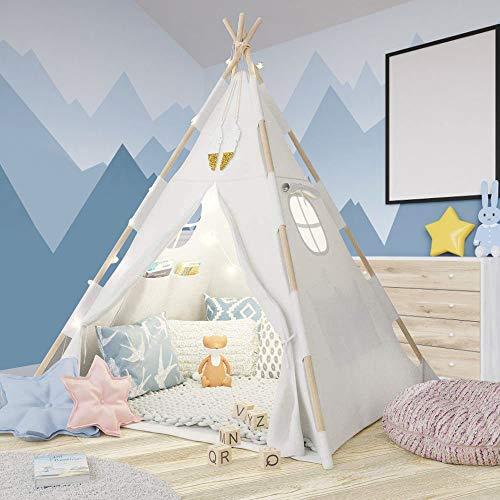 Tacobear Tipi Zelt für Kinder Tippi Kinderzelt Spielzelt mit Lichterkette Feder Prinzessin Castle...