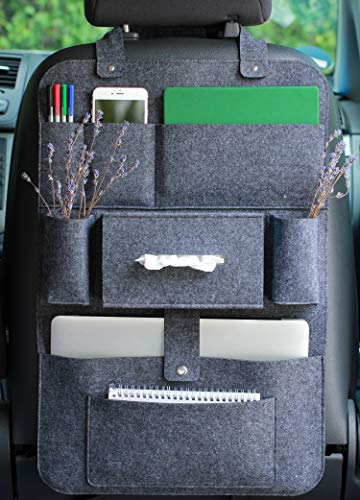 LuckySign Autositz Organizer Wohnmobil Zubehör Innenraum, 62 x 41 cm - Dunkelgrau