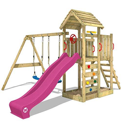 WICKEY Spielturm Klettergerüst MultiFlyer Holzdach mit Schaukel & violetter Rutsche, Kletterturm mit...