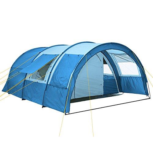CampFeuer Tunnelzelt Multi Zelt für 4 Personen   riesiger Vorraum, 5000 mm Wassersäule   mit Bodenplane...