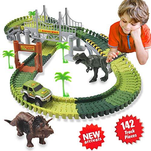 ACTRINIC Auto Rennstrecken-Sets Dinosaurier Spielzeug,mit 142 Stück Flexible Strecken 2 Dinosaurier,1...