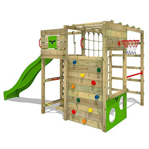 FATMOOSE Klettergerüst Spielturm FitFrame mit apfelgrüner Rutsche, Gartenspielgerät mit Leiter &...