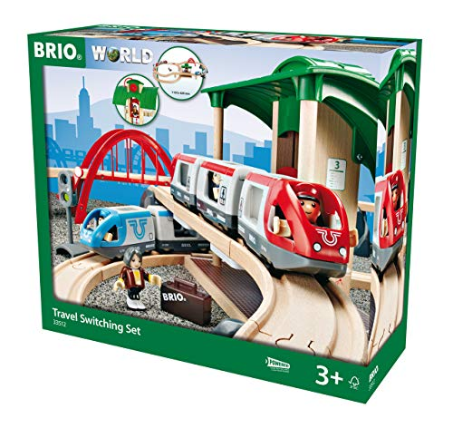 BRIO World 33512 Großes BRIO Bahn Reisezug Set – Eisenbahn mit Bahnhof, Schienen und Figuren –...
