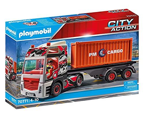 PLAYMOBIL City Action 70771 LKW mit Anhänger mit klappbarer Seitenverkleidung und schwenkbarer...