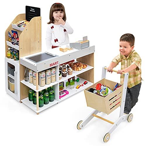 GOPLUS Kaufladen mit Einkaufswagen, Supermarkt aus Holz, Kaufmannsladen mit Tafel & Registrierkasse,...