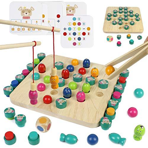 Akokie Montessori Spielzeug Holz Angelspiel Memory Brettspiel 4 in 1 mit 8 Karten Kartenspiel Puzzle...