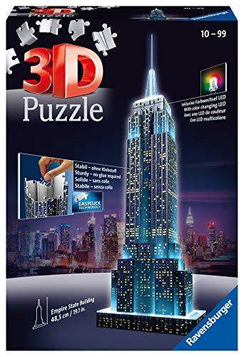 Ravensburger 3D Puzzle Empire State Building bei Nacht, für Kinder und Erwachsene, Wahrzeichen von New...