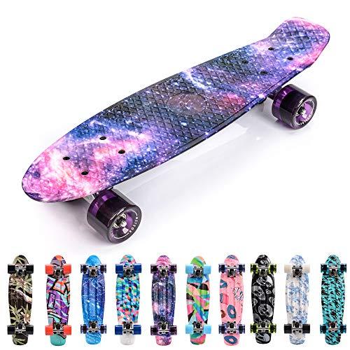 meteor Skateboard Kinder - Mini Cruiser Kickboard - Skateboard mädchen Rollen Board - Kunststoff...