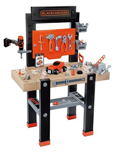 Smoby 360701 – Black+Decker Werkbank Center – mit viel Zubehör, mechanischem Akkuschrauber,...