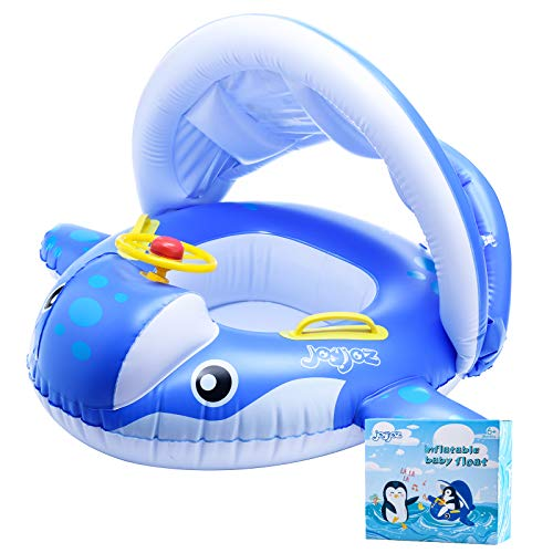 Joyjoz Baby Schwimmring Aufblasbarer Hai Schwimmsitz Kinderboot Kinder Schwimmhilfe mit Sonnenschutz für...