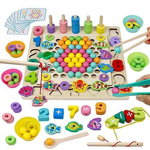 Akokie Montessori Spielzeug Angelspiel Steckspiel 4 IN 1 Holz Puzzle Brettspiele Stapelsteine Mathe Spiel...