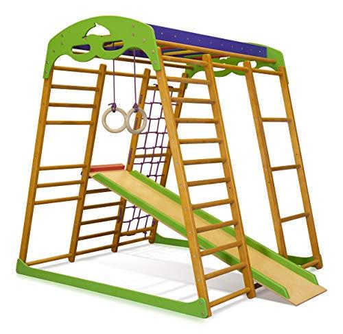 Kinder zu Hause aus Holz Spielplatz mit Rutschbahn ˝Karamelček˝ Kletternetz Ringe Kletterwand...