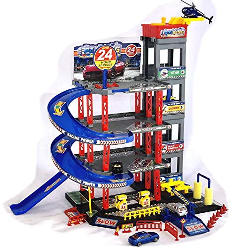 Parkgarage Spielzeug Kinder Autogarage Parkhaus Garage incl. 4 Spielzeugautos und Hubschrauber Spiel-SET...