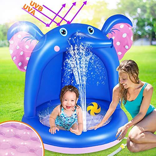 lenbest Aufblasbares Planschbecken, l'éléphant Baby Pool mit Sonnenschutz, Splash Kinderzelt...