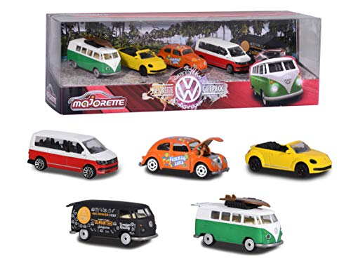 Majorette Volkswagen Originals 5er-Geschenkset, Spielzeugautos mit Freilauf aus Metall, zu öffnende...