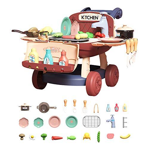 Arkmiido Multifunctional Küche Kinder Spielzeug Kindergrill 25 STÜCKE Spielküche für Kinder,...