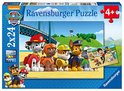 Ravensburger Kinderpuzzle - 09064 Heldenhafte Hunde - Paw Patrol Puzzle für Kinder ab 4 Jahren, mit 2x24...