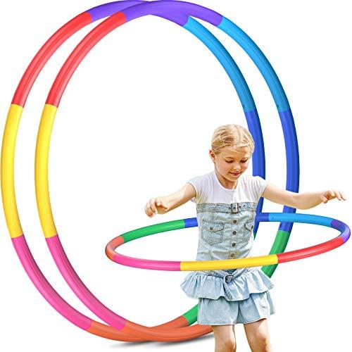 2 Pack Hoola Hoop Reifen Kinder, 8 Abschnitte Abnehmbare Fitness Hoola Hoop Reifen für Zuhause Draussen...